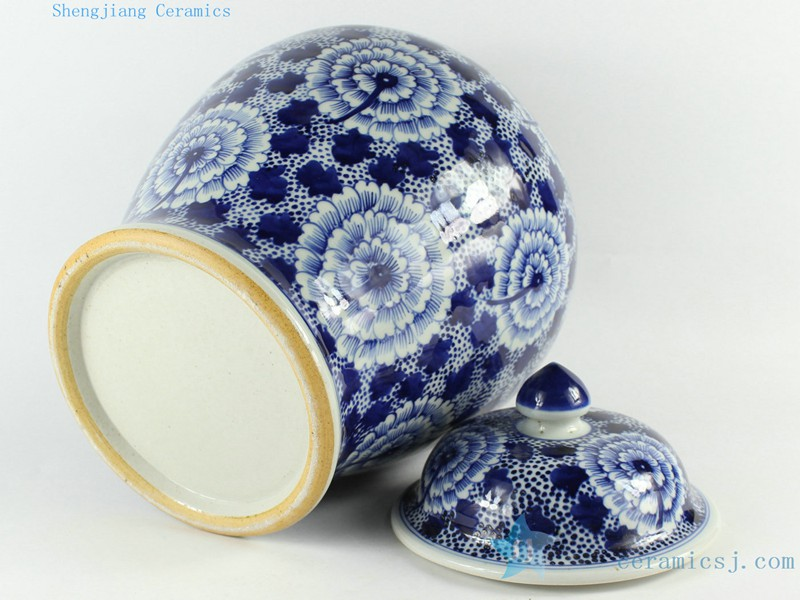 RZCM07 Archaize blue and white point workers hand-painted round the general pot of chrysanthemum flowers