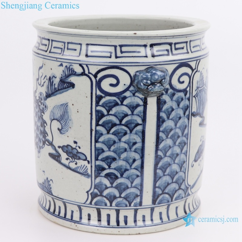 RZFB17 Archaize hand-painted blue and white double-eared lion head unicorn straight cylinder