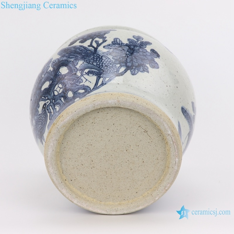 RZFB19 Jingdezhen Archaize hand-painted blue and white flower and bird grain vats