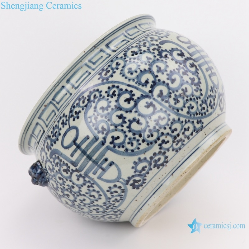 RZFB20 Archaize painted blue and white two-eared lion head shouzi grain flat stomach small tank