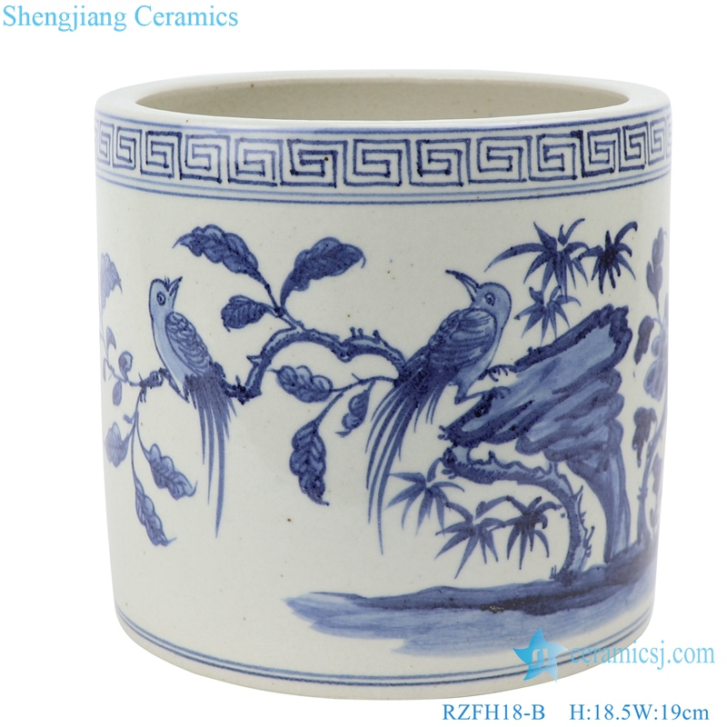RZFH18-B Jingdezhen Shengjiang Hand-painted blue and white flower-and-bird incense burner