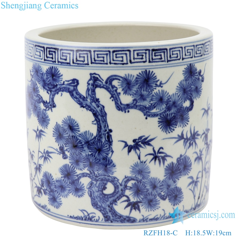 RZFH18-C Hand-painted blue and white year old cold three friends pine bamboo plum pen container