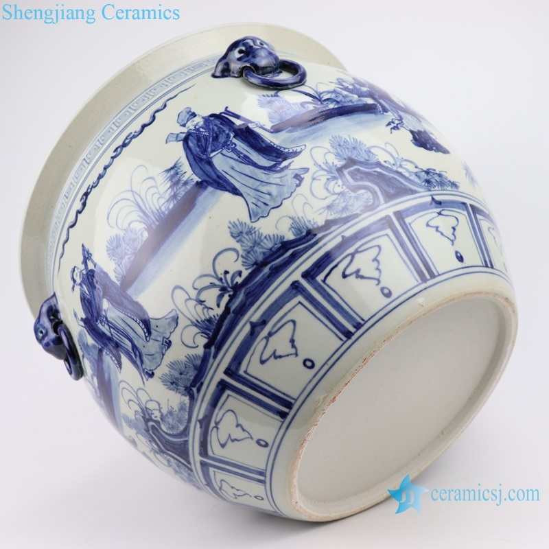 RZFH22 Hand-painted blue and white characters story eight xian cross the sea lion head VAT