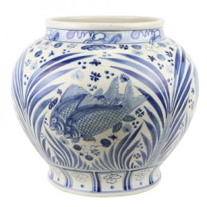 RZFH23 Jingdezhen Shengjiang Archaize blue and white hand-painted fish algal pattern tank