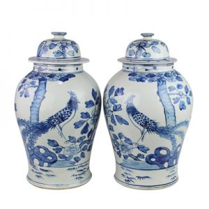 RZFI05-F Jingdezhen Archaized hand-painted blue and white flower and bird general pot