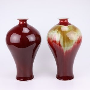 RZFJ04-AorB Jingdezhen Color glaze kiln becomes red bottom flow yellow plum bottle