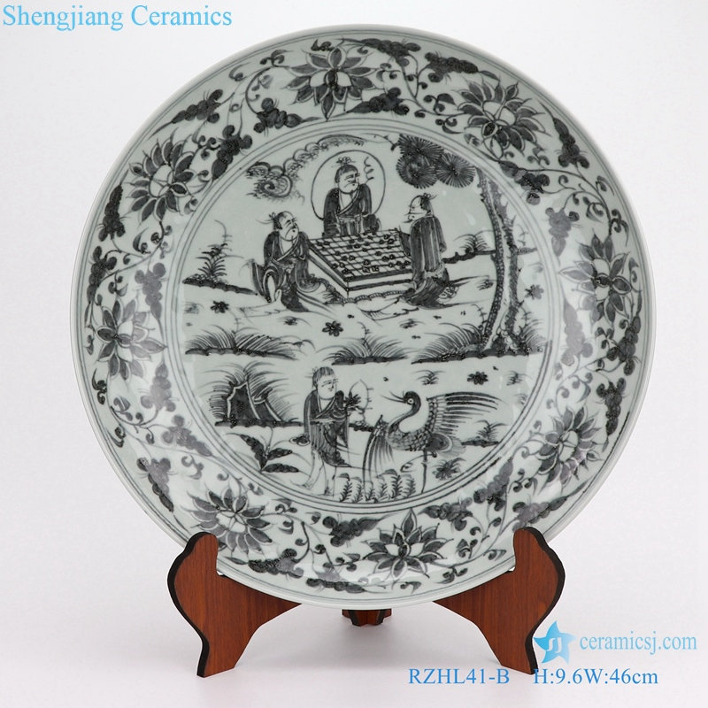 Archaize yuan blue and white porcelain disc