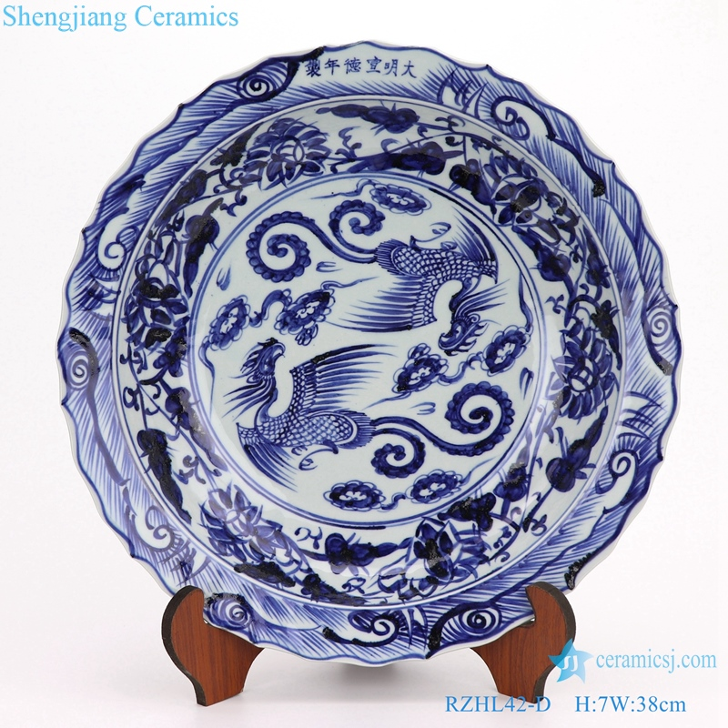 beautiful Archaize yuan blue and white porcelain plates
