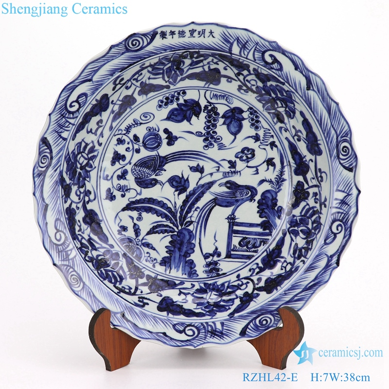 RZHL42 Archaize hand-painted yuan blue and white porcelain disc