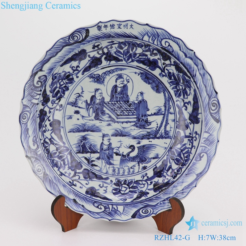 Chinese style Archaize blue and white porcelain plates