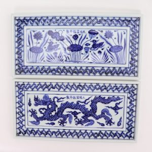 RZHL45-AorB Blue and white hand-painted square open light carving rectangular tea tray