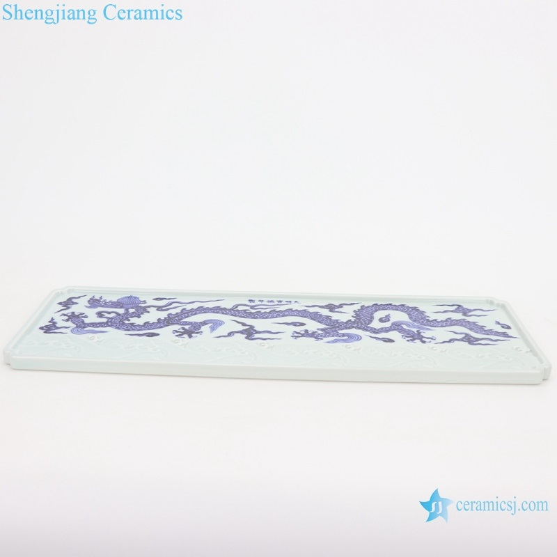 RZHL46 Archaized blue and white hand-painted daming rectangular tea tray