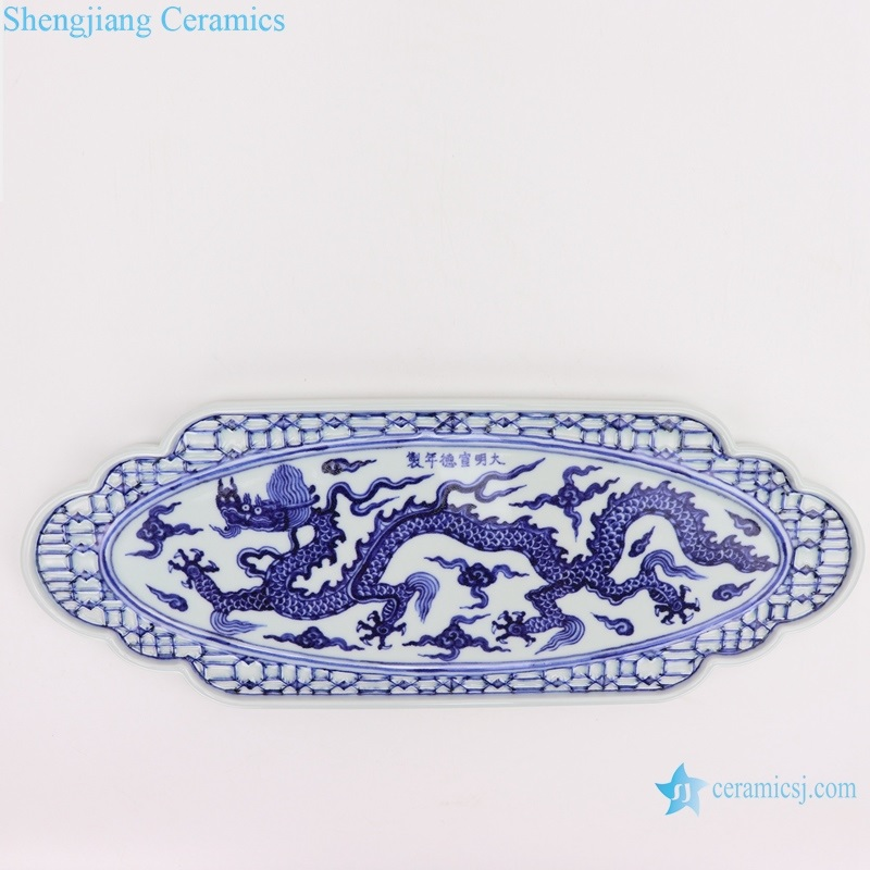 RZHL47-AorB Archaize blue and white hand painted large melon prismatic tea tray