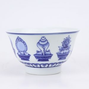 RZIN11 Jingdezhen Blue and white eight-treasure grain 4.3-inch bowl