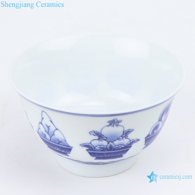 RZIN11 Jingdezhen Blue and white eight-treasure grain 4.3-inch bowl
