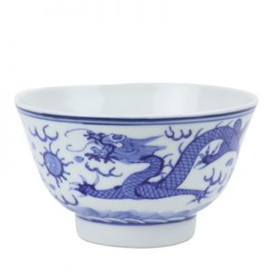 RZIN12 Blue and white double dragon play pearl cloud dragon grain 4 inch bowl