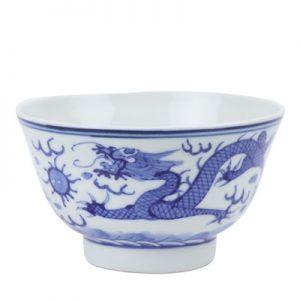 RZIN12 Blue and white double dragon play pearl cloud dragon grain 4 inch bowl
