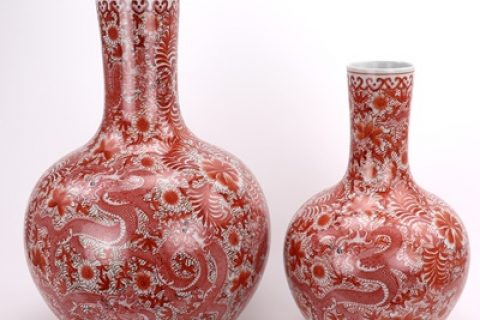 RZIS10-C Jingdezhen All hand-made alum red dragon pattern vase