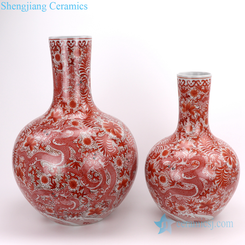 RZIS10-C Jingdezhen All hand-made alum red dragon pattern vase