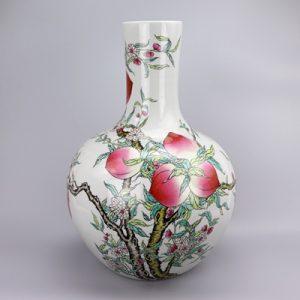 RZIS14 Archaize qing qianlong painted pastel nine longevity peach picture large vase