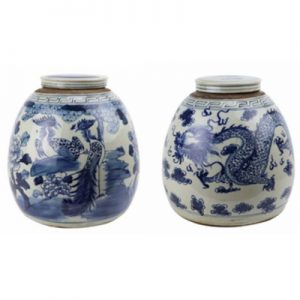 RZFZ07-BorC Archaize hand-painted blue and white flowers and birds double phoenix jar