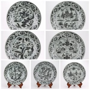 RZHL41 Archaize hand-painted yuan blue and white porcelain disc