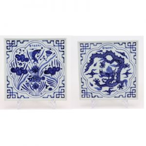 RZHL43-AorB Antique blue and white hand-carved square tea tray