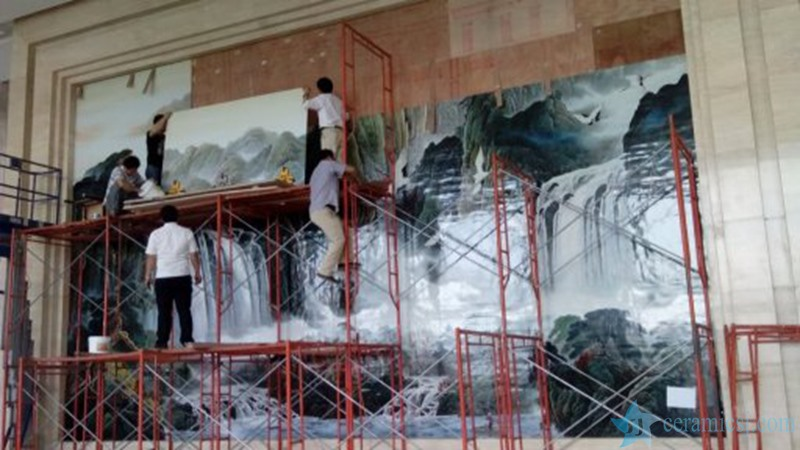 The installation is decorated with beautiful ceramic murals
