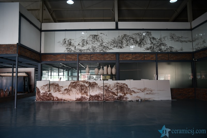 A ceramic mural used for the decoration of the hall