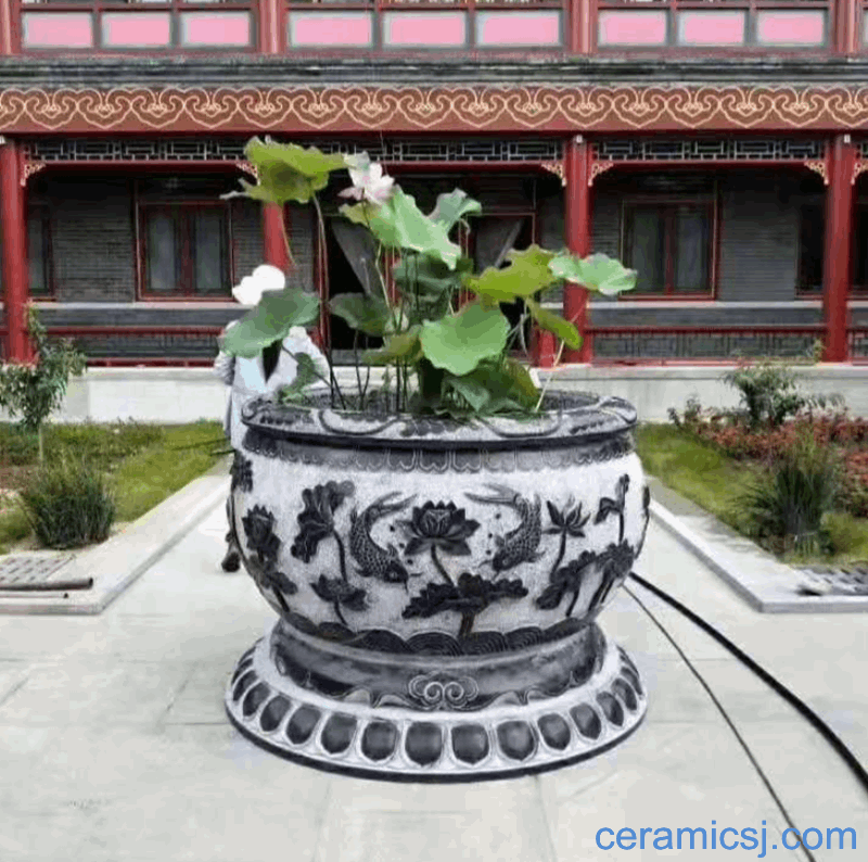 Chinese Style Ceramic Fish Tank Hand Painted Porcelain Cylinder Large Water Tank Lotus Cylinder Blue and white Ceramic VAT