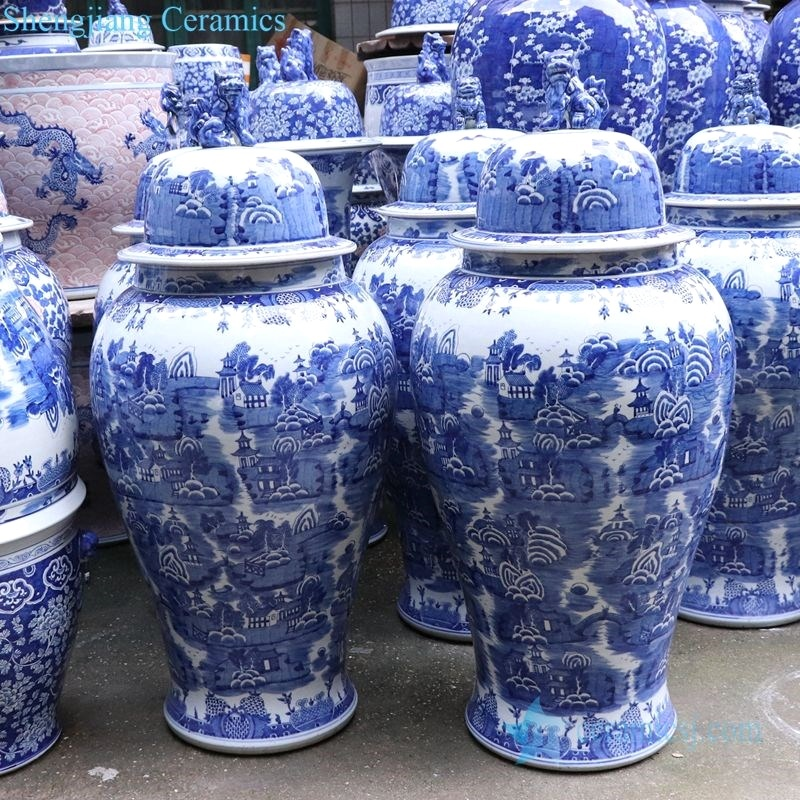 Chinese mountains-and-waters painting jar
