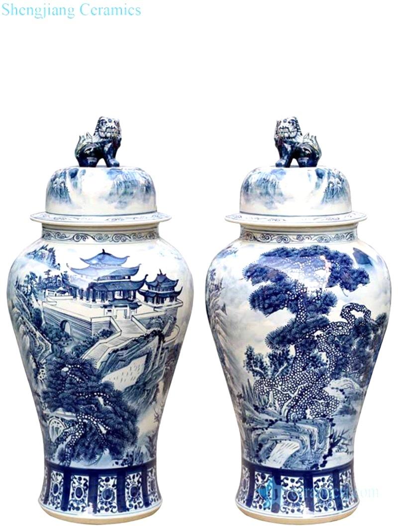 hand craft landscape pattern hat-covered jar