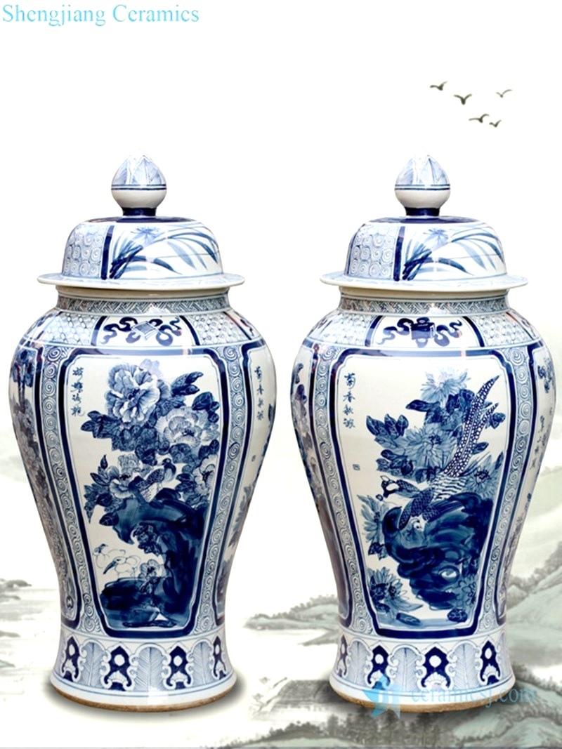 reproduction ancient peony pattern jar artworks