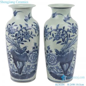 RZJG04 Antique hand-painted flower, bird, blue and white porcelain vase with wax gourd bottle