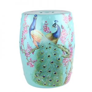 RZKL07-L Color glazed porcelain stool cool pier peacock birds light green birds