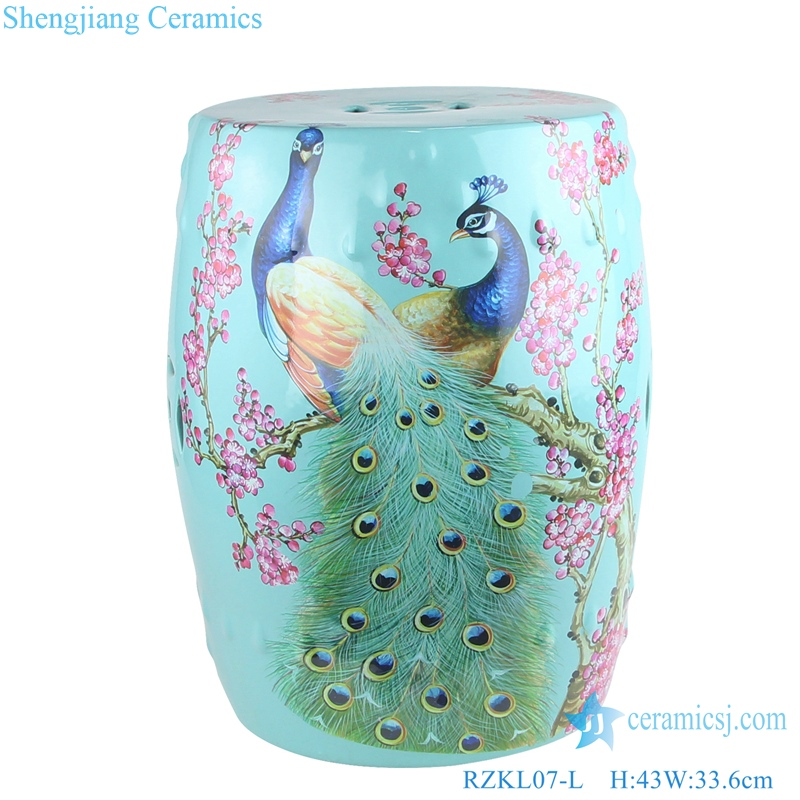 Shengjiang color porcelain stool front view