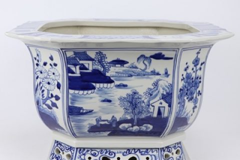 RZKS13-B Archaized hand-painted blue and white landscape octagonal eight - sided melon - arrowed octagonal hollow bottom flowerpot