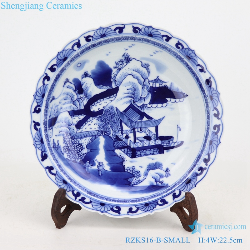 Chinese ceramic landscape painting plate hand-made