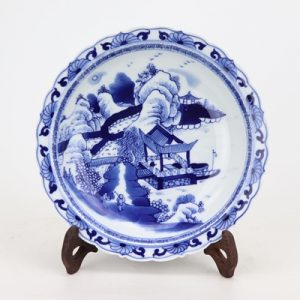RZKS16-B-SMALL Archaize hand-painted blue and white landscape characters guarang kui mouth plate