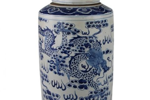 RZKT02 Archaid-style hand-painted blue and white cloud dragon and phoenix patterns with lid tea canister