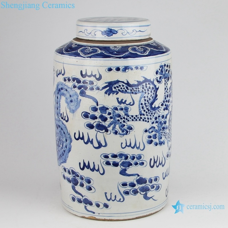 blue and white china tea canister back side