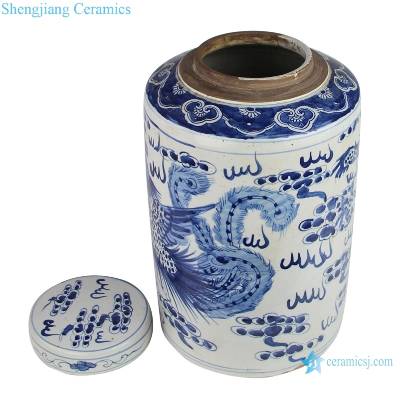 Dragon and phoenix design of tea canister with lid