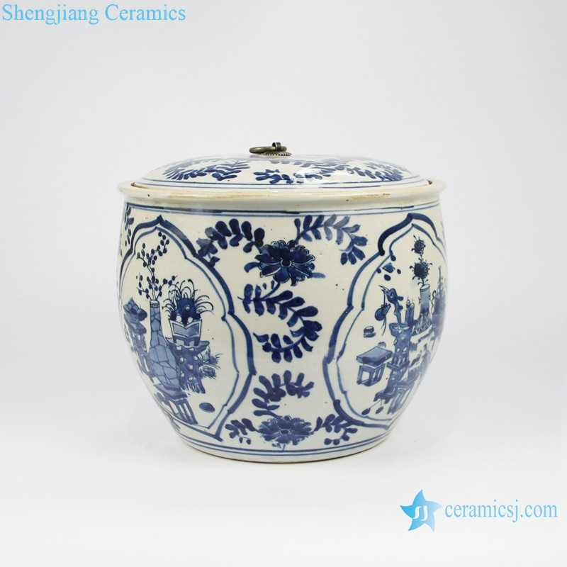 blue and white storage canister side view