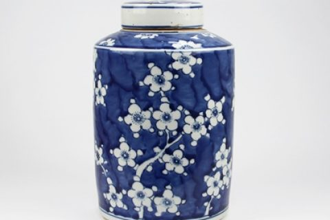 RZKT32-A Archaize hand-painted blue and white ice plum straight body people can with a lid can mini