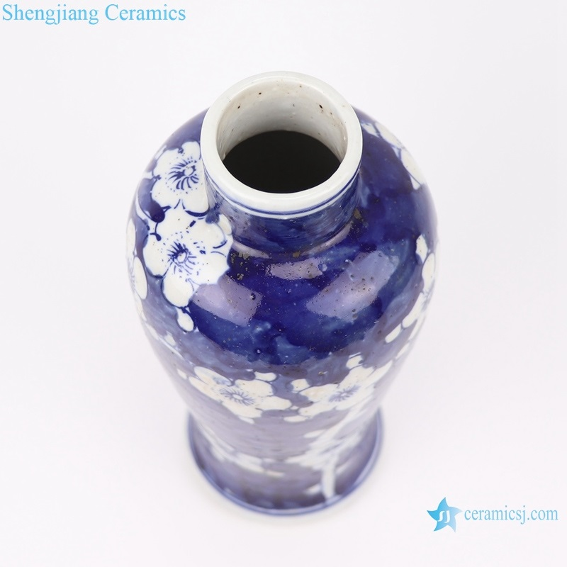 Chinese blue and white ice plum vase top view
