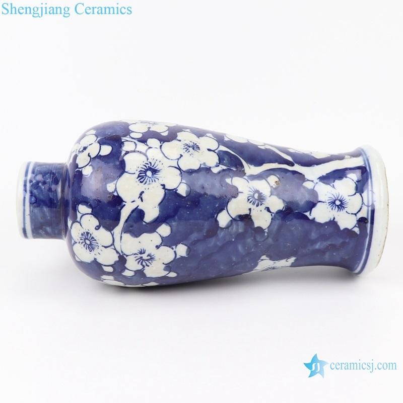 blue and white ice plum vase side view