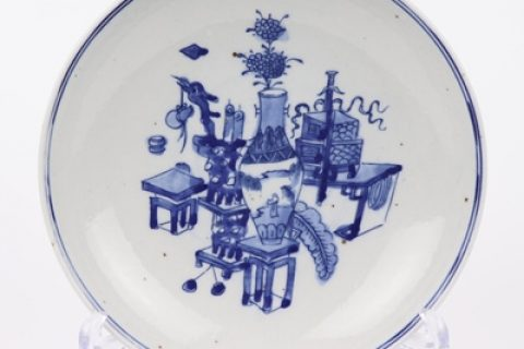RZKT35 Archaize hand-painted blue and white antique figure 8 inch plate