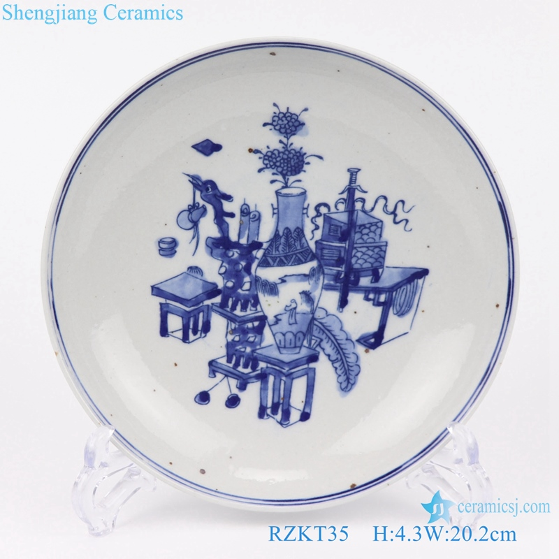 Archaize hand-painted antique plate front view