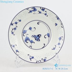 RZKX17-E Blue and white linglong flowers butterfly love flower 8 inch deep plate soup plate