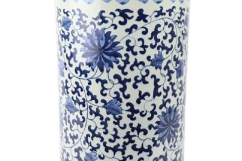 RZKY22 Archaize hand-painted blue and white flower string branch lotus winding branch grain umbrella barrel quiver